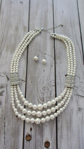 Multi Row Pearl and Rhinstone Necklace - 298214