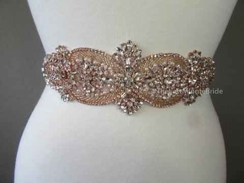 Rhinestone Bridal Belt Style: Madrid - Rose Gold