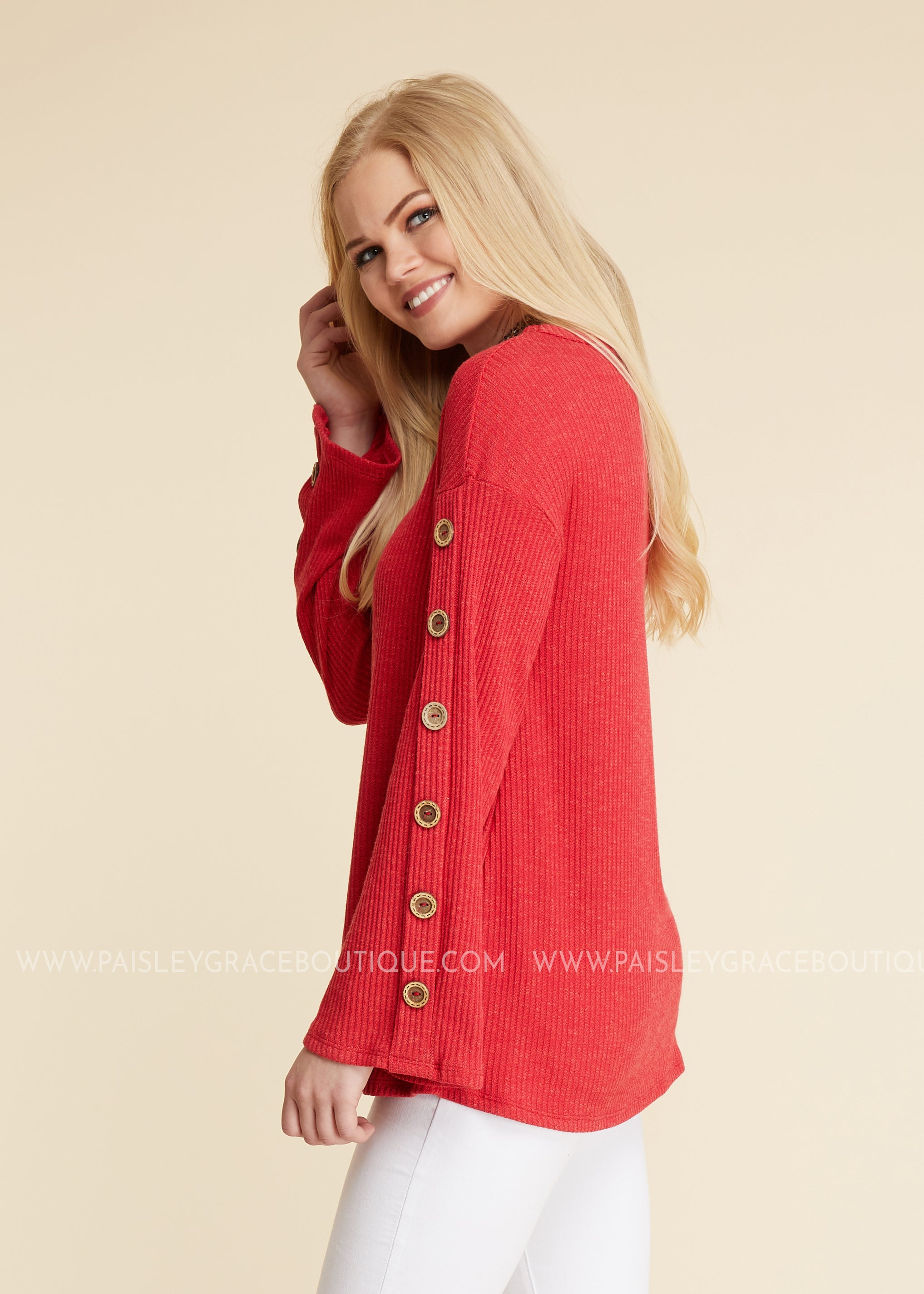 Buttons Up Top - RED - FINAL SALE