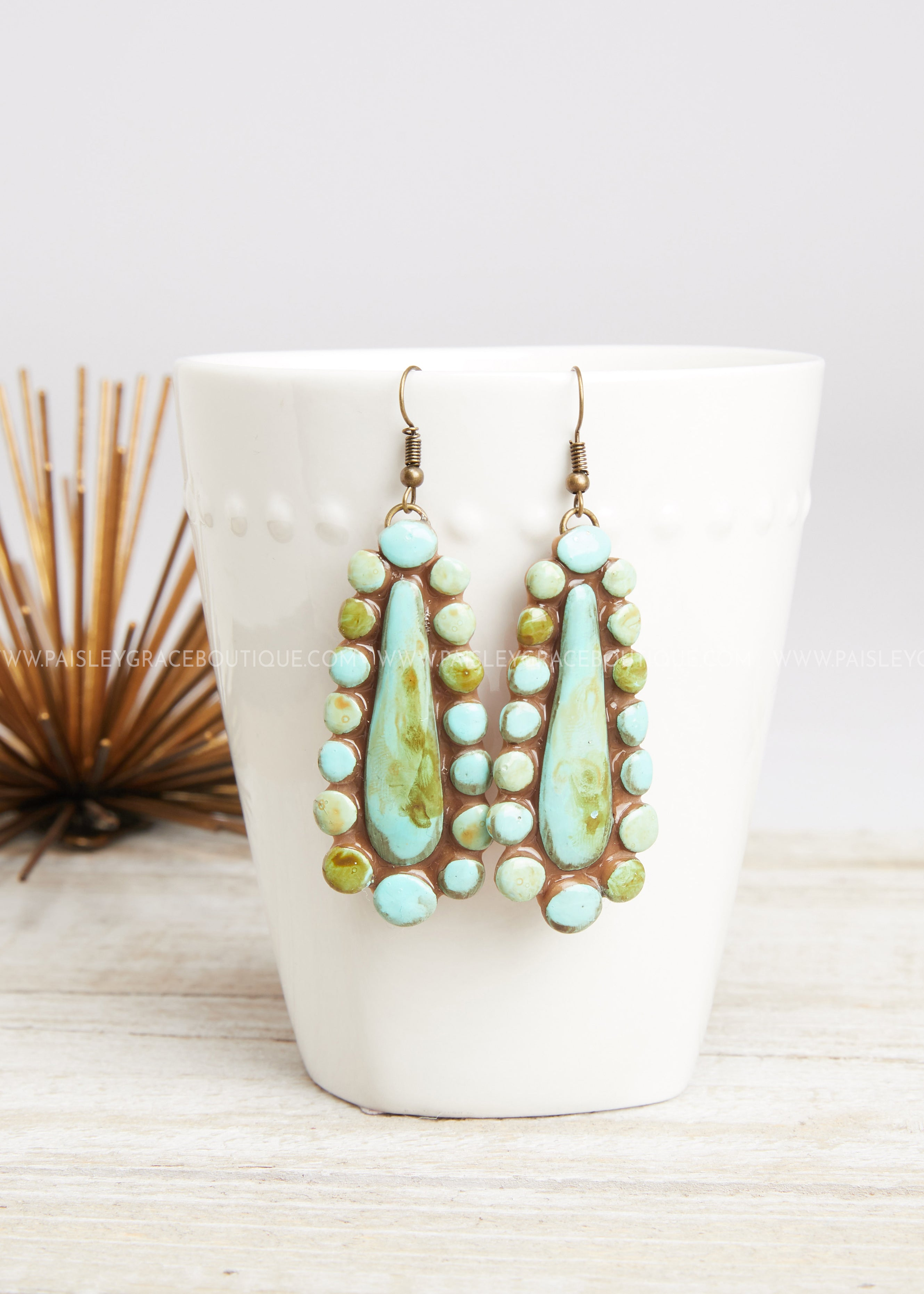 Turquoise Drop Clay Earrings