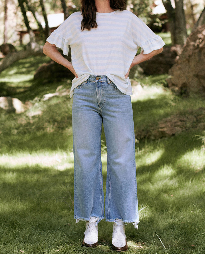 The Ruffle Sleeve Tee. -- PALE BLUE STRIPE