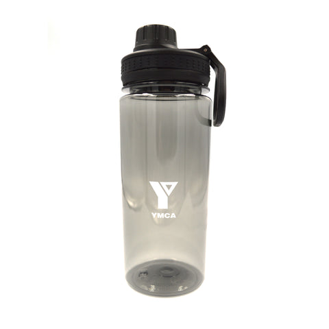 YMCA Clear Water Bottle with Handle - Black
