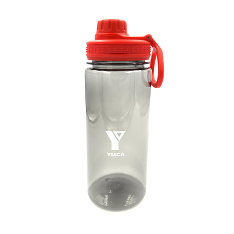 YMCA Clear Water Bottle with Handle - Red