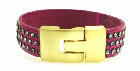 Single Jigsaw Bracelet Fuchsia Leather Crystal
