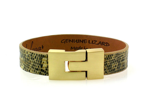 Single Jigsaw Bracelet Beige Marked Lizard
