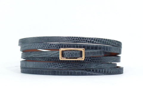Grey Lizard Six Wrap Bracelet