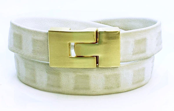 Sale Double Jigsaw Bracelet Distressed White Square Leather