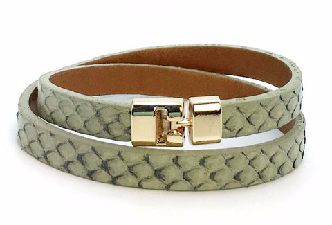 Double T-Bar Bracelet Antique Python
