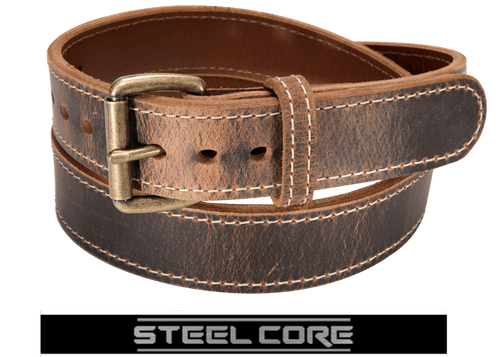 BULLBELT® DISTRESSED AMERICAN BISON STEEL CORE GUN BELT