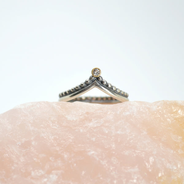 asteria ring : silver & 18k & diamond