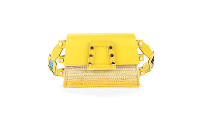 Leather & Fabric Belt Bag - Ersilia Yellow