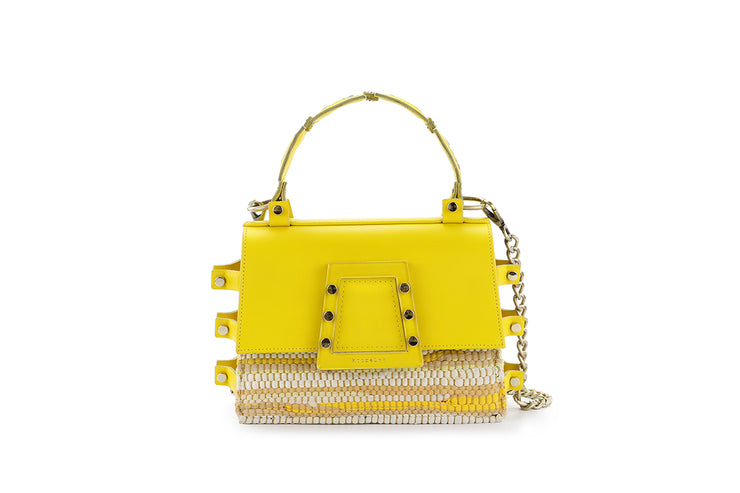 Fabric & Leather Shoulder Bag - Ersilia Yellow
