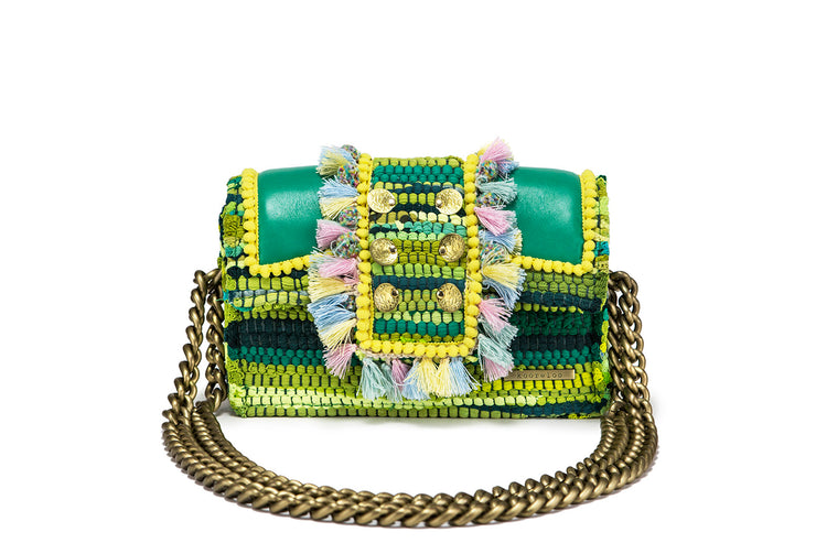 "Fabric & Leather Shoulder Bag - Hollywood ""Babe"" Paris Green"