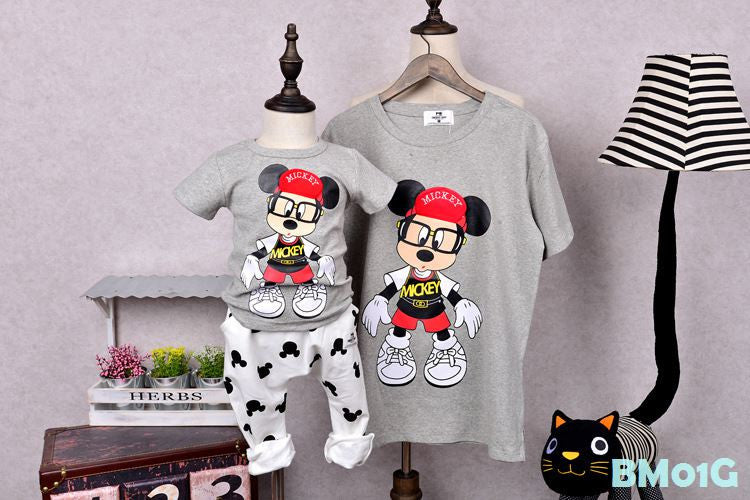 (BM01G) Family Tee - Mickey Grey