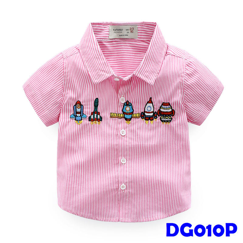 (DG010P) Boy Shirt - Rockets (Pink)