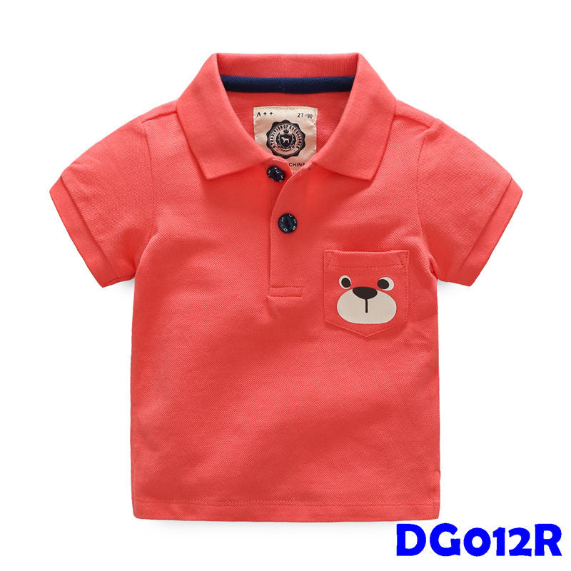 (DG012R) Boy Polo - Bear Red
