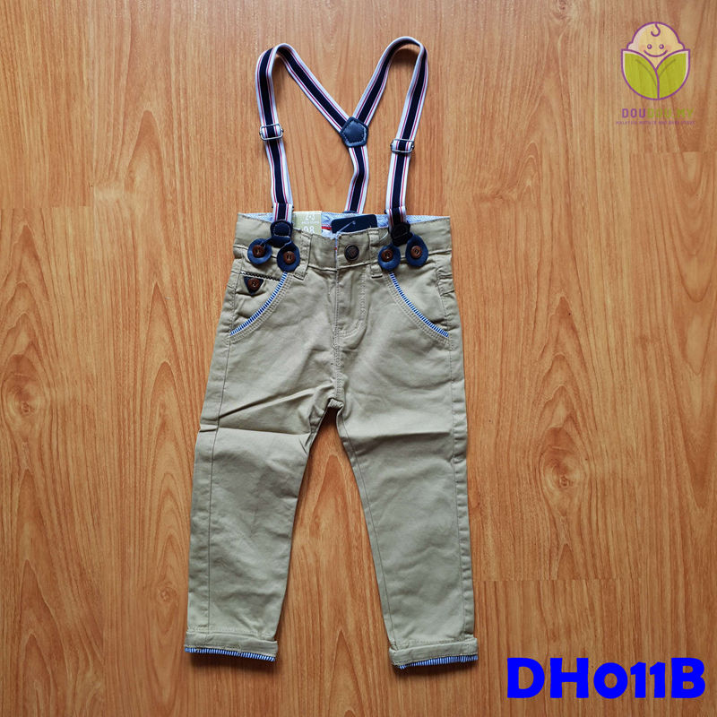 (DH011B) Kid Long Pants with Suspender - Brown