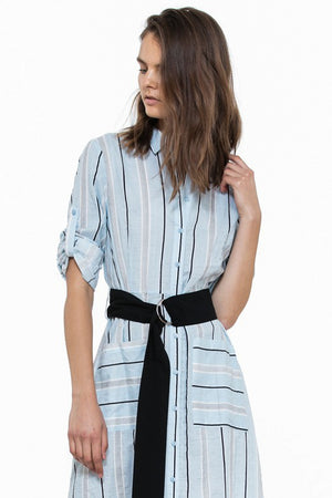 Stripe Shirt Dress with Wide Belt