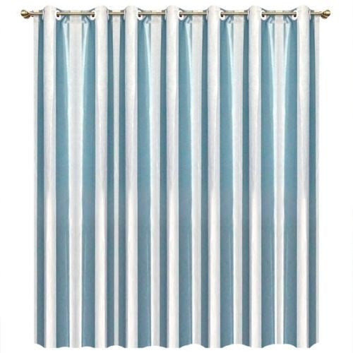 "1Pc 118""x89"" Satin Velvet Sky Blue Stripe Grommet Top Curtain Window Drapes Panel"