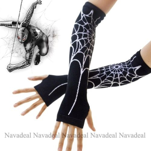 Black Spiderman Spider Web Long Arm Warmer Fingerless Gloves Halloween Costume