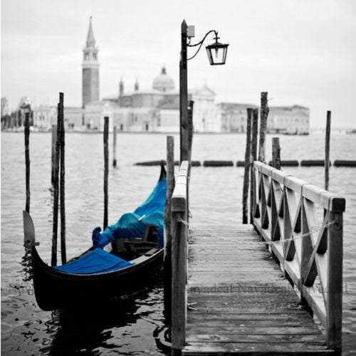 Blue Italy Venetian Gondola Boat Pier Decorative Painting Canvas Wall Poster