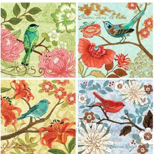 4pcs Colorful Flora Red Green Blue Birds Decorative Painting Canvas Wall Poster