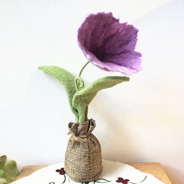 Handmade Wool Needle Felted Ornaments Home Decoration - Lilac Petunia