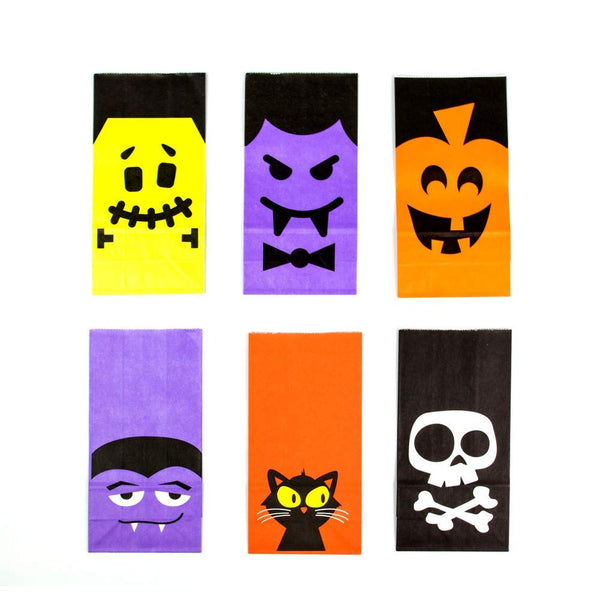UNIQOOO 72Pcs Halloween Trick or Treat Bags Bulk, Food Safe Grade Paper Pastry Bags,7x3½ x2 inch, Goodie Bags,Cookie Candy Bags,Birthday Halloween Party Favor Supplies Gift Wrapping Table Decoration