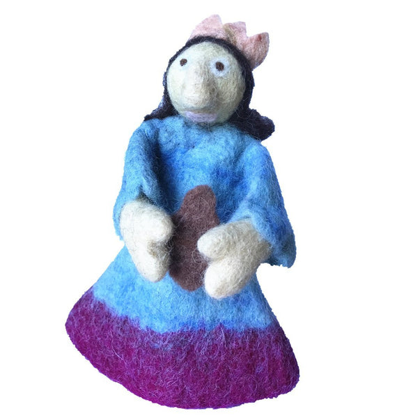 Handmade Wool Needle Felted Wine Bottle Cover, Saint Blue Gown
