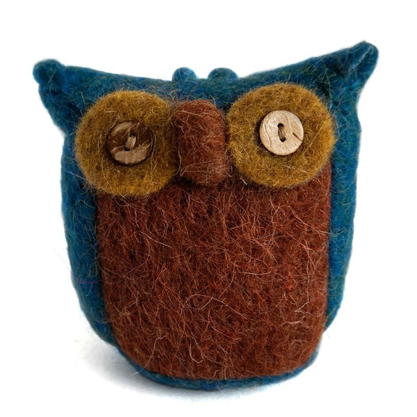 Handmade Wool Needle Felted Ornaments - Night Blue Cute Owl