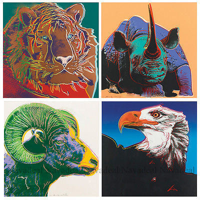 4pcs Pop Art Andy Warhol Rhinos Eagle Tiger Ram Endangered Animal Canvas Poster