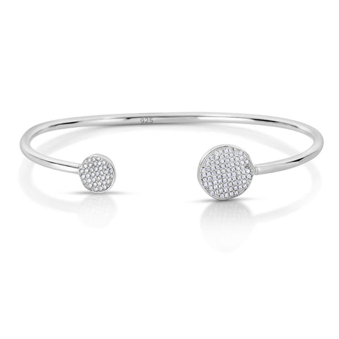 STERLING SILVER ROUND CZ PAVE DISCS BANGLE