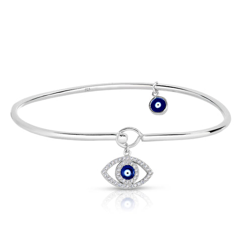 STERLING SILVER DANGLE EVIL EYE CZ BANGLE