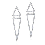 STERLING SILVER CZ GEOMETRIC TRIANGLE LINEAR DESIGN EARRINGS