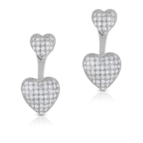 STERLING SILVER CZ PAVE PUFF HEART FRONT & BACK EARRINGS