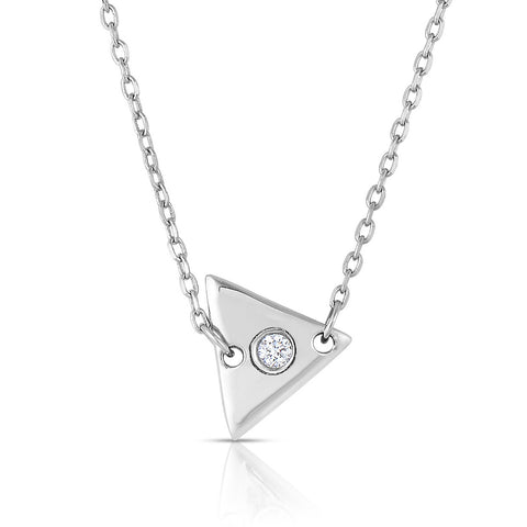 STERLING SILVER TRIANGLE DISC WITH CZ NECKLACE