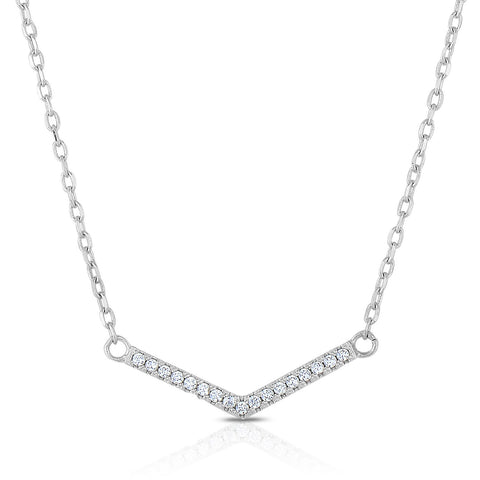 STERLING SILVER CZ MINI ARROW BAR NECKLACE