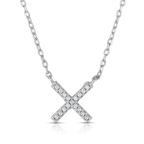 STERLING SILVER MINI CZ CROSS NECKLACE