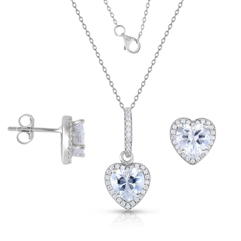 STERLING SILVER HEART HALO CZ EARRINGS & PENDANT SET