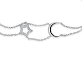 STERLING SILVER STAR & MOON CZ BRACEELT