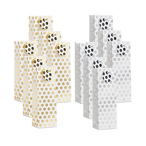 12 Pack 2 Designs Gold Silver Polka Dots Wine Bottle Gift Bags( Only Delivery to US)