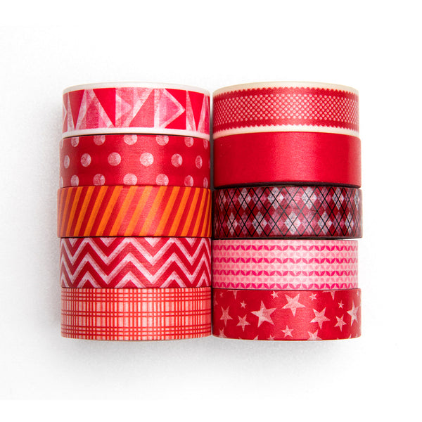10 Rolls Geometric Patterns Red Pastel Watercolor Washi Masking Tape Set, 32 Feet Each Roll
