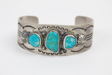Cast Sterling and Turquoise Navajo Bracelet by Leonard Chee - Turquoise Village - 1