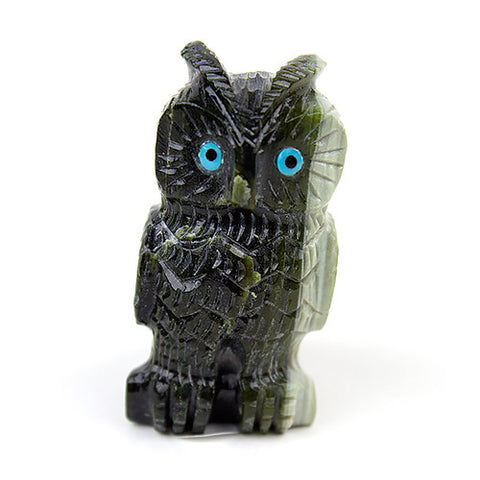 Green Serpentine Zuni Owl Fetish by Christine Banteah - Turquoise Village - 1