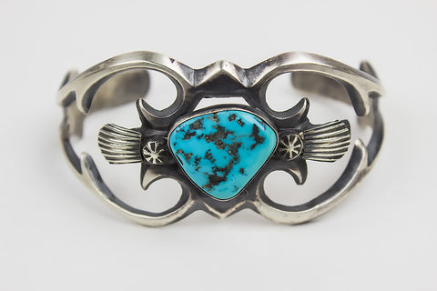 Hand Cast Navajo Sterling Silver and Natural Turquoise Bracelet by Henry Morgan - Turquoise Village - 1
