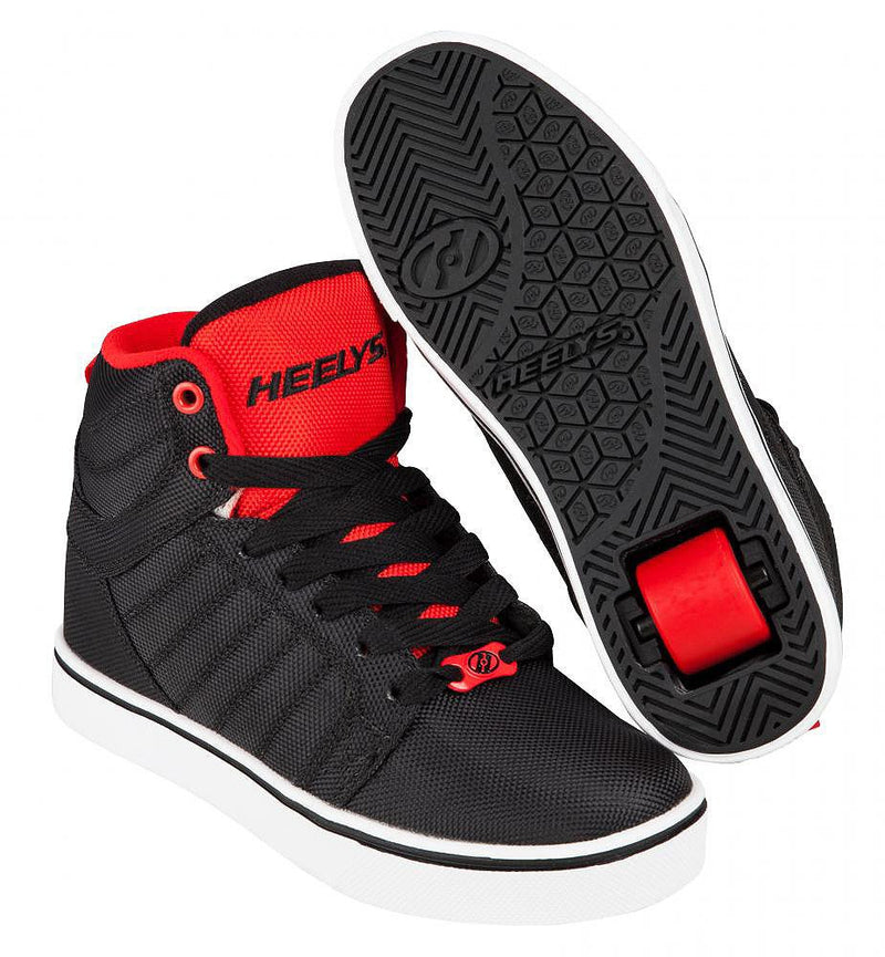 Heelys Uptown black red ballistic roller shoes with single wheel in each heel