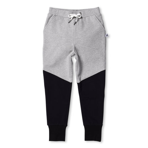 Minti Furry Sliced Trackies Grey Marle/Black