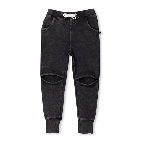 Minti Blasted Hidden Knee Trackies Black Wash