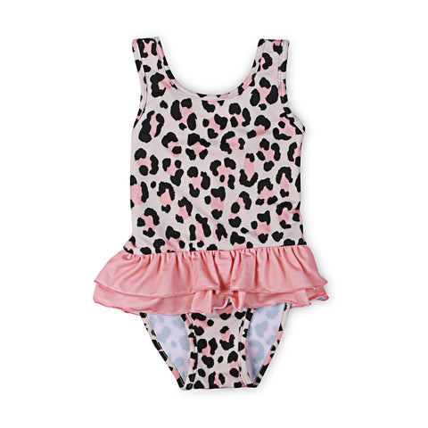 40% OFF Kapow Cheetah Ruffle Swimsuit Apricot SIZE 1Y & 3Y