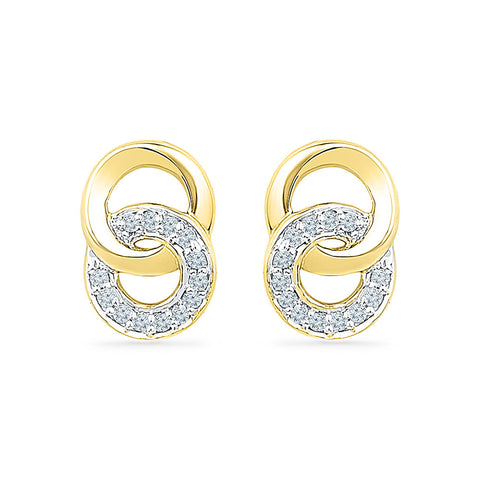 Dual Enchantment Diamond Stud Earrings in 14k and 18k gold for women online